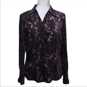 Vintage Flocked Velvet Paisley Blouse
